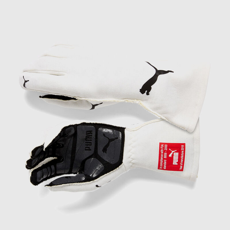 PU RW PODIO FIA GLOVES - white
