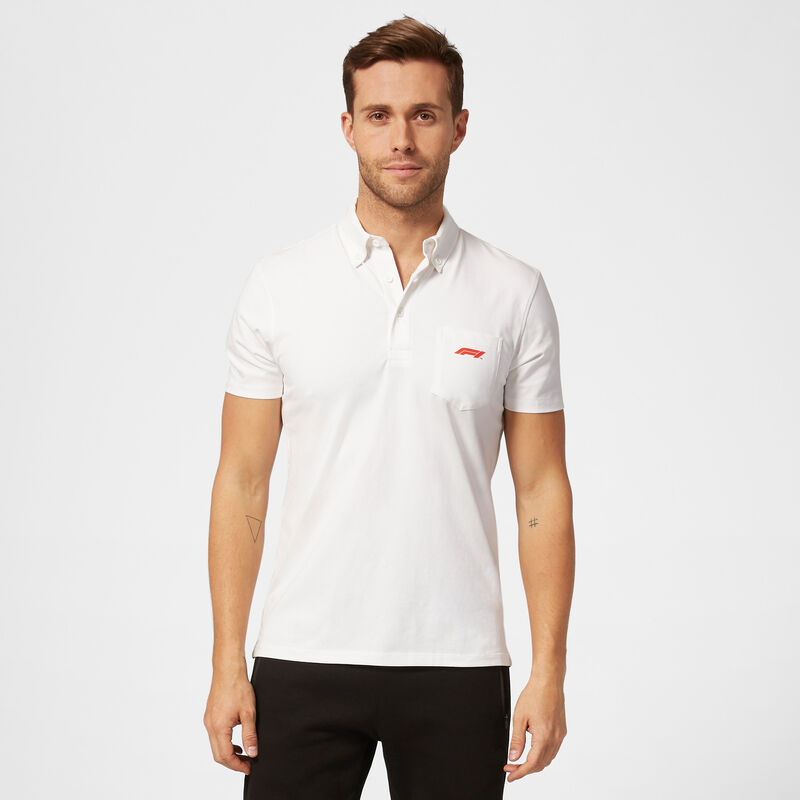 F1 FW SMALL LOGO JERSEY POLO - white