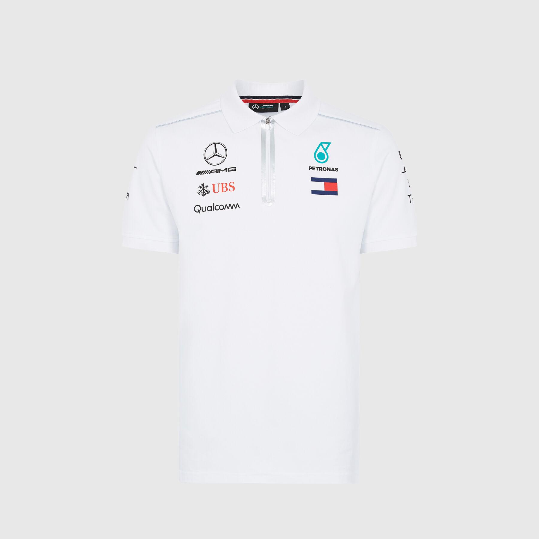 L, White Mercedes-AMG Petronas Motorsport Mens 2019 F1/™ Team Polo Shirt