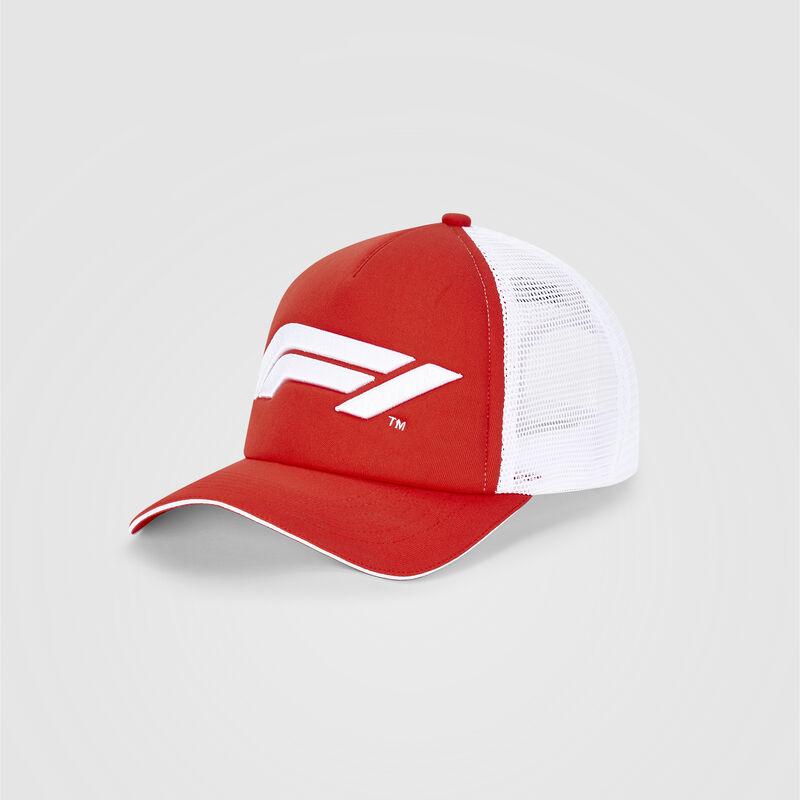 F1 FW LARGE LOGO TRUCKER CAP - red