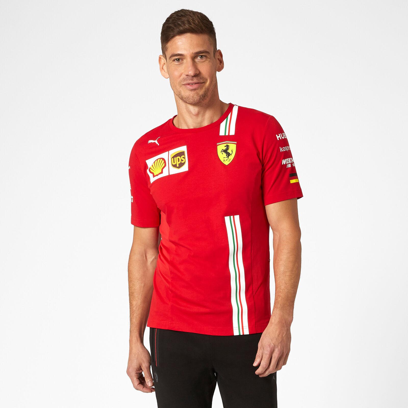 Baumwolle Rot Scuderia Ferrari Offizielle Formel 1 Merchandise 2020 Sebastian Vettel T-Shirt Herren